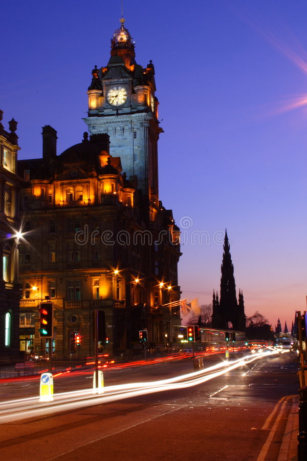 Edinburgh at night. Princes Street in Edinburgh at night