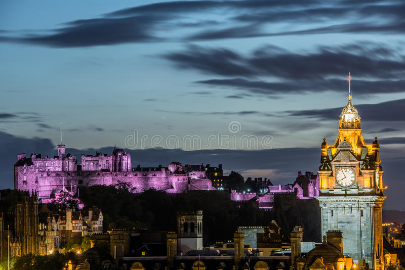 Edinburgh at night. View from Calton Hill royalty free stock image