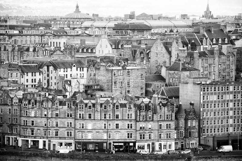 Edinburgh old town city view from Calton Hill. Edinburgh old town city view from Calton Hill, black and white stock photos