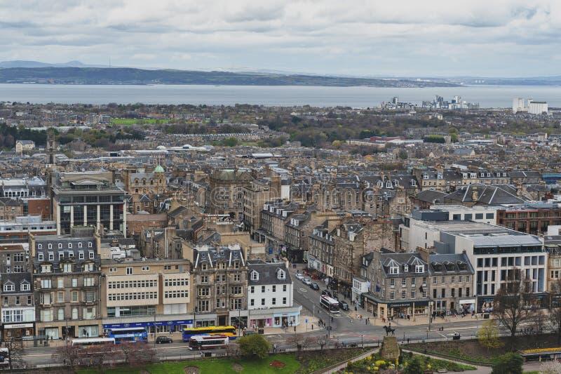 Cityscape of old town Edinburgh with classic Scottish buildings on Princess Street towards North Sea, Scotland, UK stock image