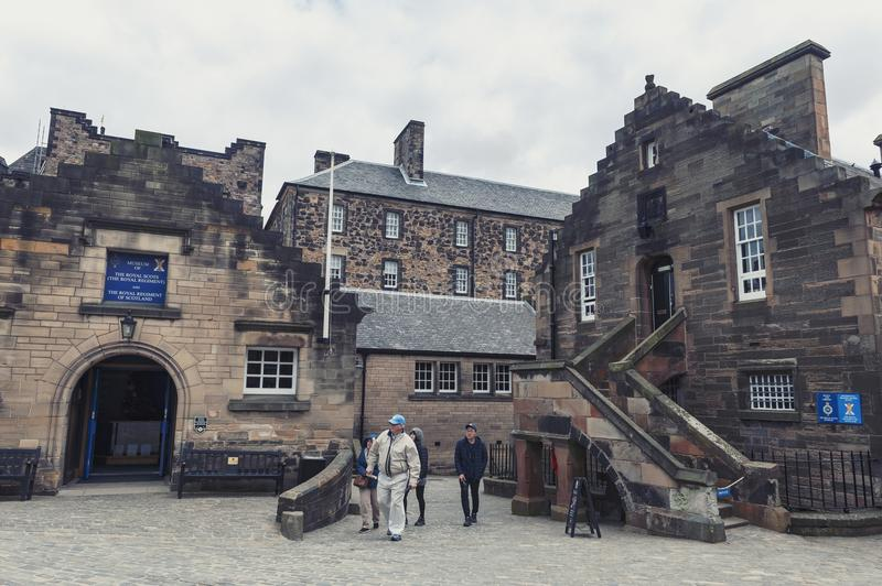 Old buildings which house Museum of The Royal Regiment for Scotland located inside Edinburgh Castle, Scotland, UK royalty free stock image