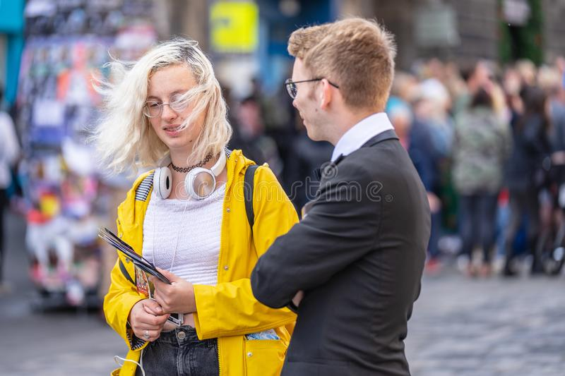 Edinburgh, Scotland, August 8th 2019. Leaflet Distributors or Flyer Distributors.The Edinburgh Festival Fringe, also referred to. As The Fringe or Edinburgh stock image