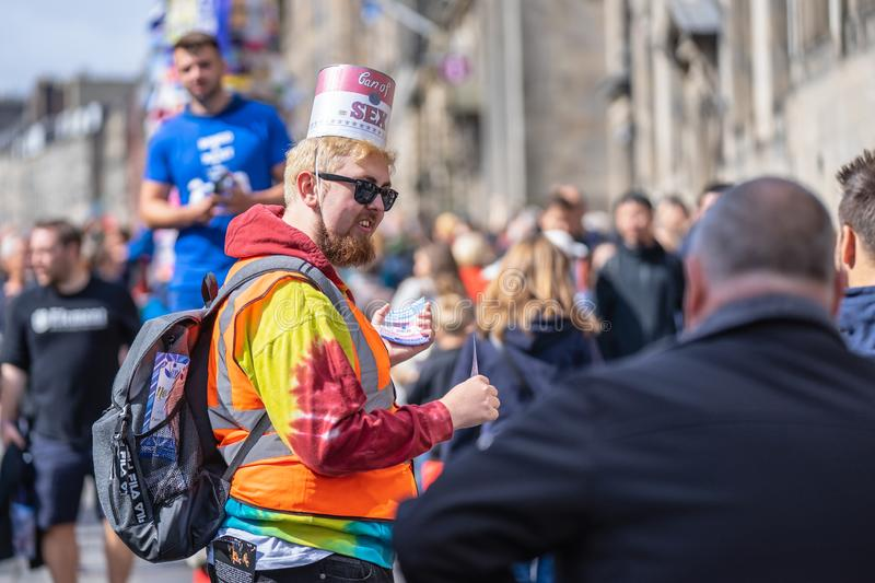 Edinburgh, Scotland, August 8th 2019. Leaflet Distributors or Flyer Distributors.The Edinburgh Festival Fringe, also referred to. As The Fringe or Edinburgh royalty free stock photos