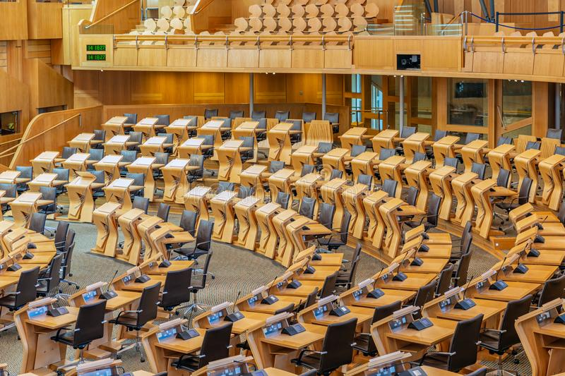 Interior Scottish parliament, the debating chamber. Edinburgh, Scotland - May 24, 2018: Interior Scottish parliament the debating chamber royalty free stock images