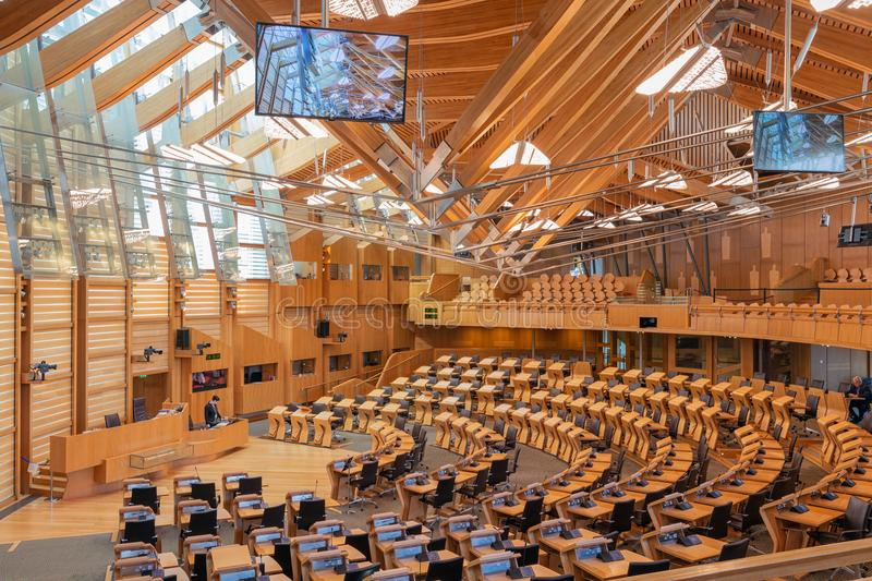 Interior Scottish parliament, the debating chamber. Edinburgh, Scotland - May 24, 2018: Interior Scottish parliament the debating chamber royalty free stock photography