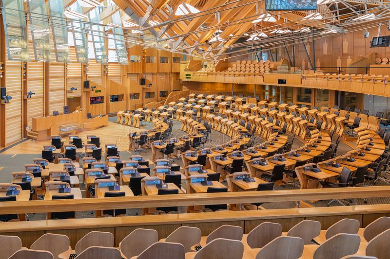 Interior Scottish parliament, the debating chamber. Edinburgh, Scotland - May 24, 2018: Interior Scottish parliament the debating chamber stock photo
