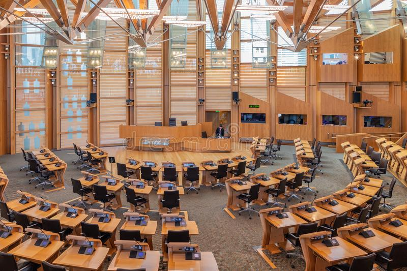Interior Scottish parliament, the debating chamber. Edinburgh, Scotland - May 24, 2018: Interior Scottish parliament the debating chamber stock images
