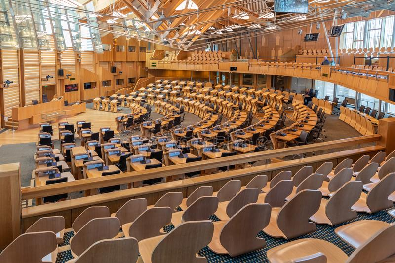 Interior Scottish parliament, the debating chamber. Edinburgh, Scotland - May 24, 2018: Interior Scottish parliament the debating chamber stock photos