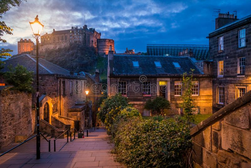 Scenic night sight in Edinburgh old town, Scotland. Edinburgh is Scotland`s compact, hilly capital. It has a medieval Old Town and elegant Georgian New Town royalty free stock photos