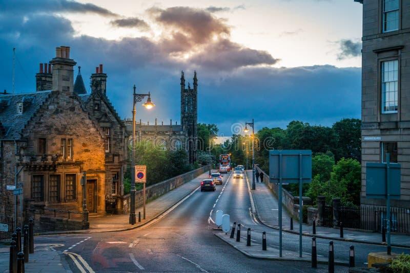 Scenic sight of Dean Bridge in Edinburgh at dusk. Scotland. stock photos
