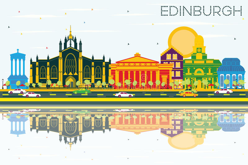 Edinburgh Scotland Skyline with Color Buildings, Blue Sky and Re stock illustration