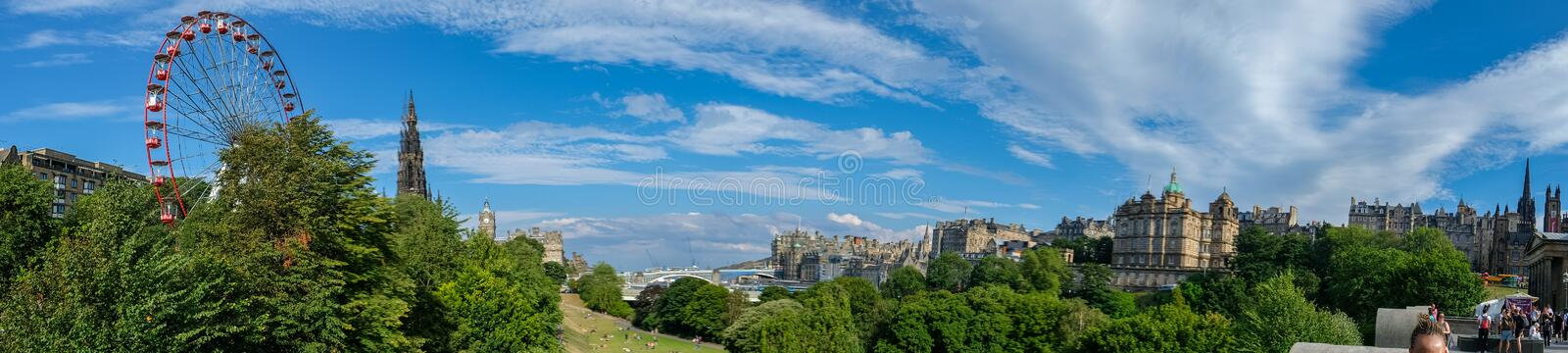Edinburgh, Scotland Skyline panorama viewed from the Playfair Steps on a beautiful summer afternoon stock photography