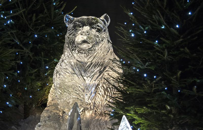 Edinburgh/ Scotland - Thursday 30th November 2017 - Ice Sculptures on George Street - A Journey Through Frozen Scotland. Edinburgh`s Christmas Ice Sculptures stock image