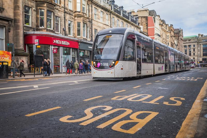 Edinburgh Trams. Modern tram and bus stop sign royalty free stock photos