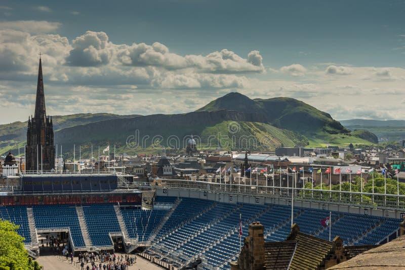 View from Castle towards Salisbury Crags, Edinburgh, Scotland. stock photography