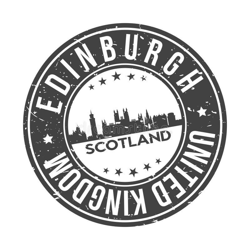 Edinburgh Scotland UK Round Button City Skyline Design Stamp Vector Travel Tourism vector illustration