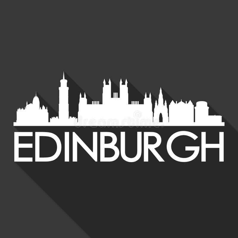 Edinburgh Scotland United Kingdom Europe Icon Vector Art Flat Shadow Design Skyline City Silhouette Template Black Background vector illustration