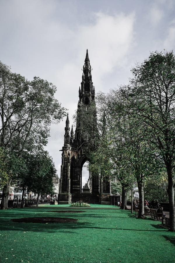 Edinburgh scots monument. Scotland, dramatic, beautiful, history royalty free stock images