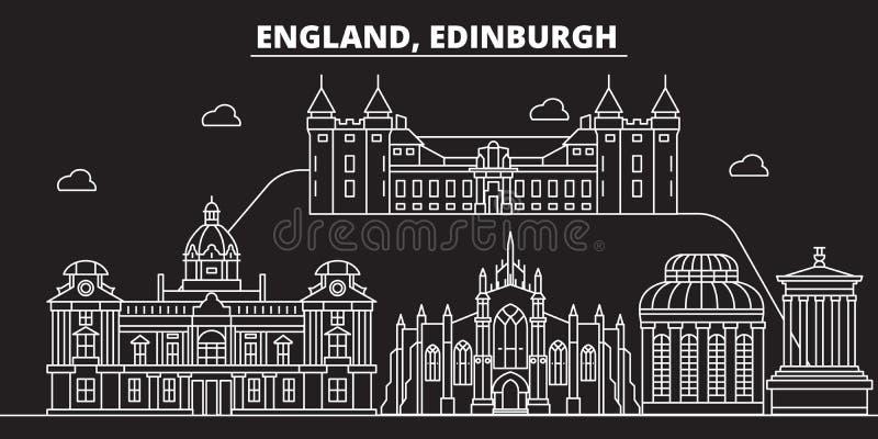 Edinburgh silhouette skyline. Great Britain - Edinburgh vector city, british linear architecture. Edinburgh travel stock illustration