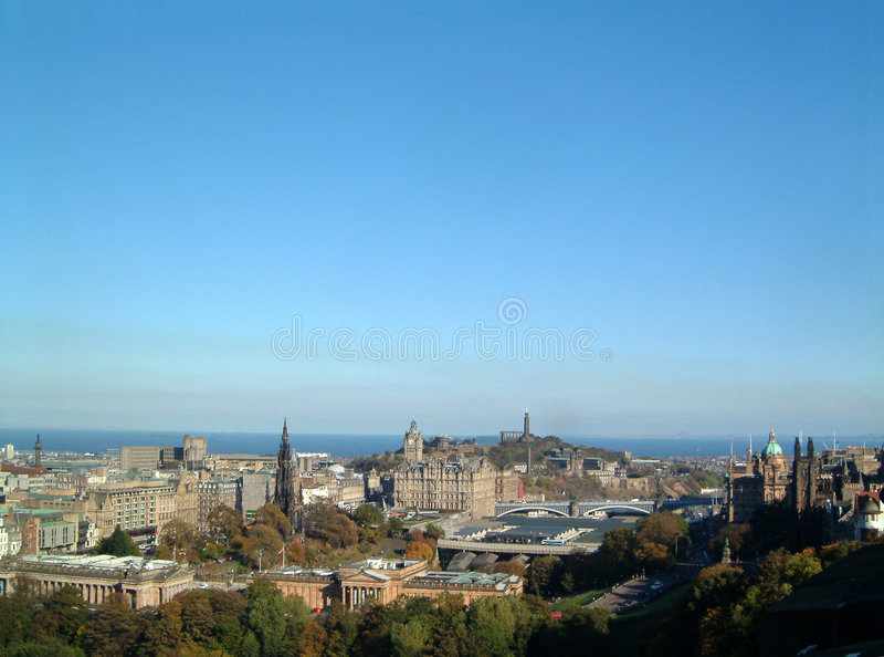 Edinburgh Skyline. From the castle esplanade royalty free stock photography