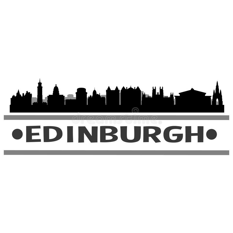 Edinburgh Skyline City Icon Vector Art Design royalty free illustration