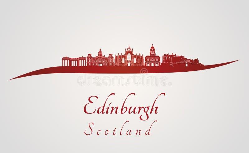 Edinburgh skyline in red royalty free illustration