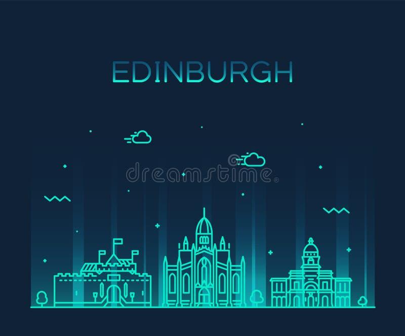 Edinburgh skyline Scotland Trendy a vector linear royalty free illustration