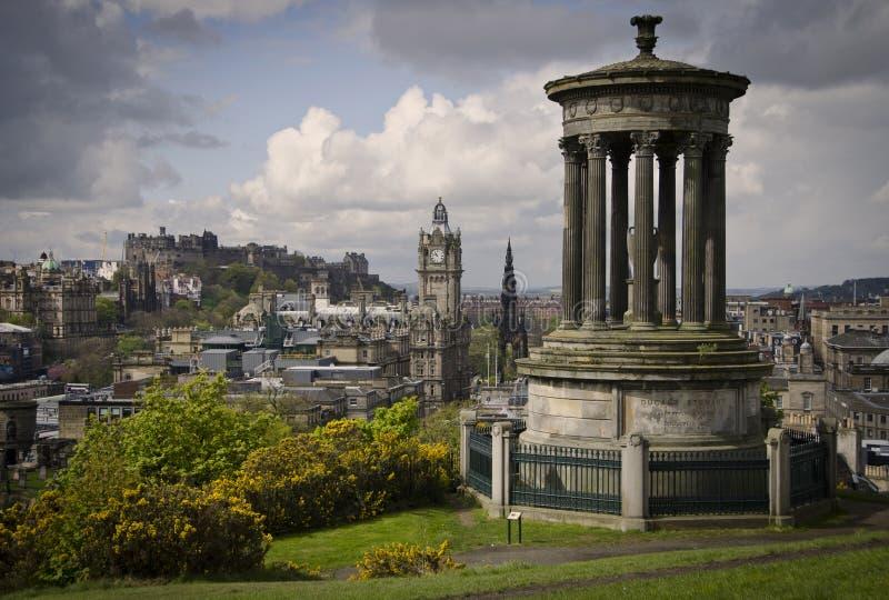 Edinburgh skyline view from Calton HIll of Castle stock photos