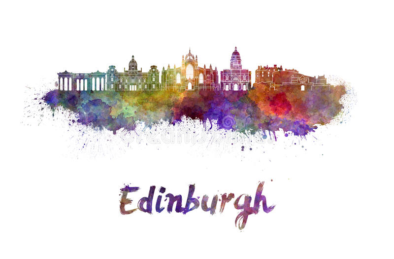 Edinburgh skyline in watercolor royalty free illustration