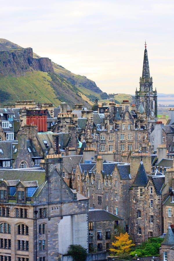 Edinburgh-Straßen-Panorama stockbilder