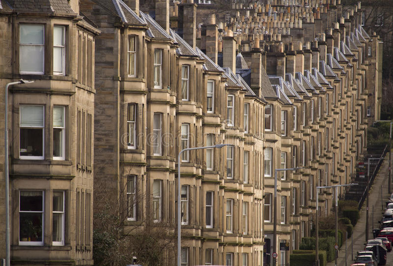 Edinburgh street view. This picture was shot on Comely Bank Ave in Edinburgh. It clearly illustrates the tipical uniformity and style of scottish architecture in stock image