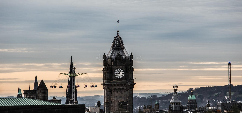 EDINBURGH, UNITED KINGDOM - Dec 15, 2017: Edinburgh cityscape seen from Calton Hill. EDINBURGH, UNITED KINGDOM - Dec 15, 2017: A view of the Edinburgh cityscape stock photos