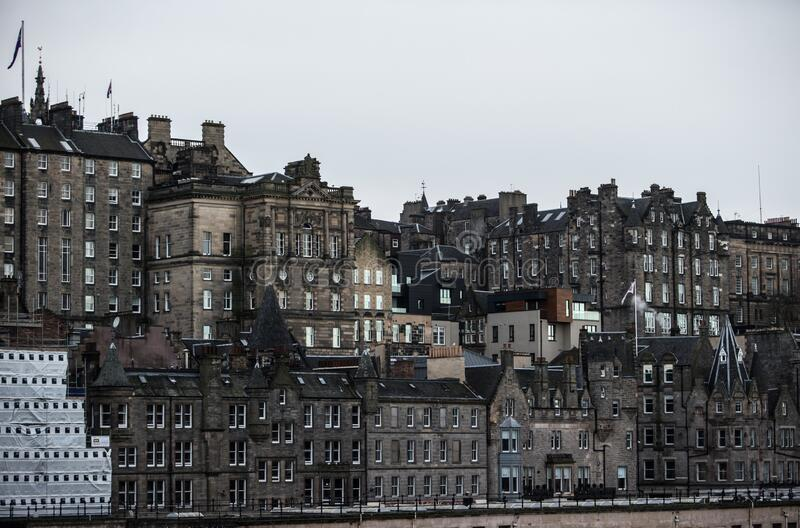 EDINBURGH, UNITED KINGDOM - Dec 15, 2017: Edinburgh Old Town. Cityscape as seen from North Bridge, Scotland royalty free stock images