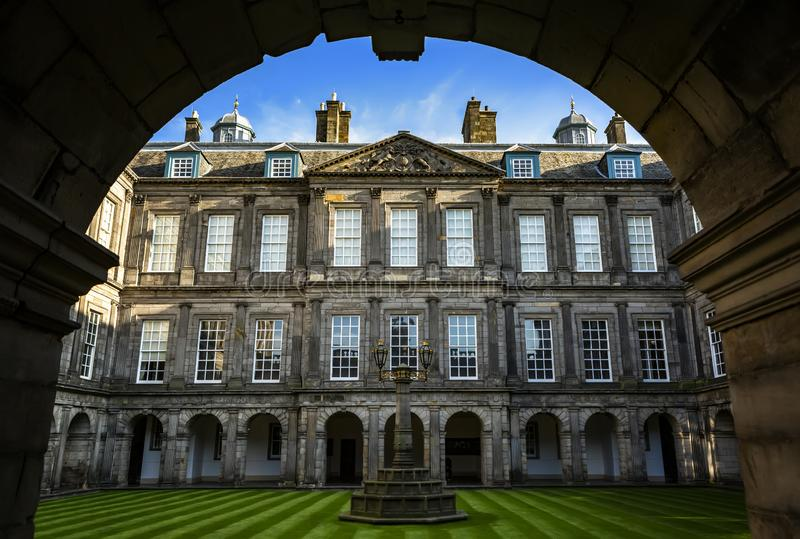 Edinburgh, United Kingdom - October 31, 2019: The internal quadrangle of Holyrood palace. Located at the bottom of the Royal Mile. Is the official residence of stock image