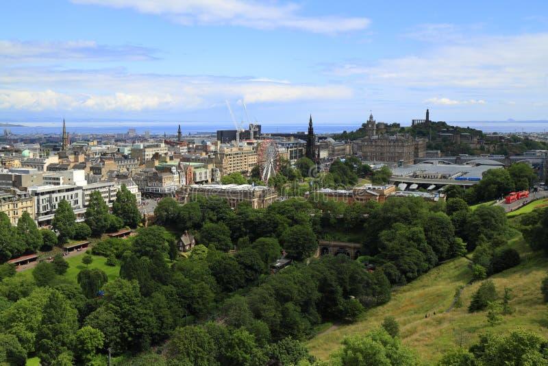 Edinburgh vom Schloss-Hügel, Schottland stockfoto
