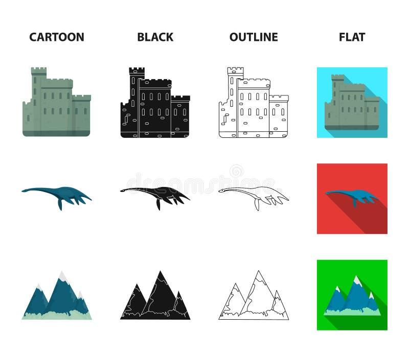 Edinburgslott, fjord Ness Monster, Grampian berg, nationell lockbalmoral, tamnolla-shanter Skottland uppsättningsamling vektor illustrationer