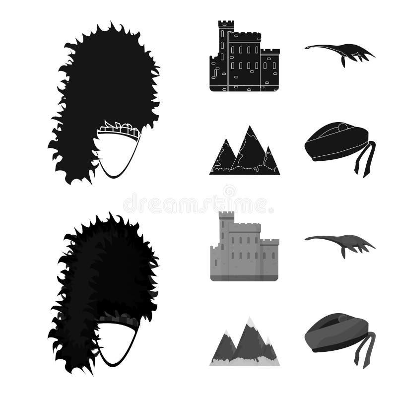 Edinburgslott, fjord Ness Monster, Grampian berg, nationell lockbalmoral, tamnolla-shanter Skottland uppsättningsamling royaltyfri illustrationer