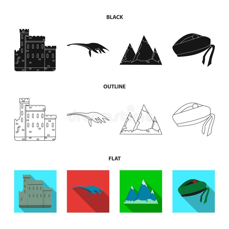 Edinburgslott, fjord Ness Monster, Grampian berg, nationell lockbalmoral, tamshanter Skottland uppsättningsamling stock illustrationer