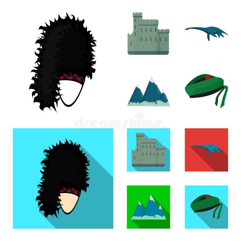 Edinburgslott, fjord Ness Monster, Grampian berg, nationell lockbalmoral, tamshanter Skottland uppsättningsamling royaltyfri illustrationer