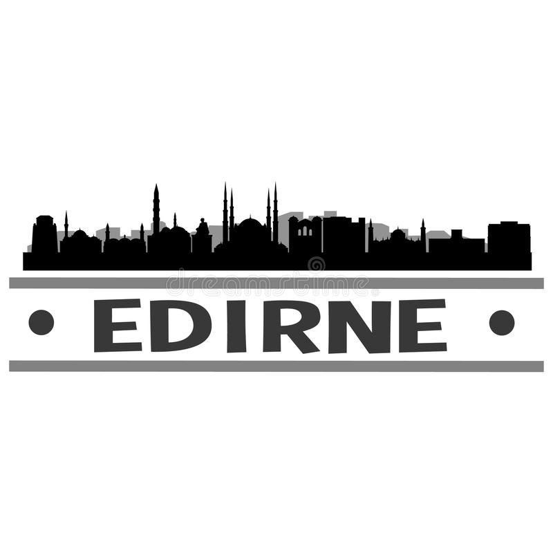 Edirne linii horyzontu miasta ikony sztuki Wektorowy projekt royalty ilustracja