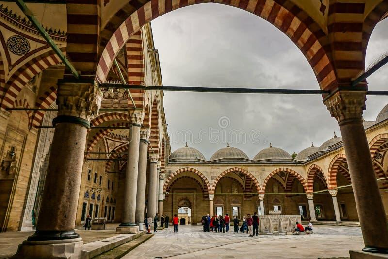 Edirne/TURKEY - 26 de maio: Mesquita Camii de Selimiye do interior, projetado por Mimar Sinan em 1575 O local do património mundi imagens de stock