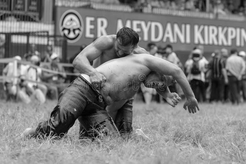 EDIRNE, TURQUIA - 26 DE JULHO DE 2010: Pehlivan turco dos lutadores na competição na luta romana tradicional de Kirkpinar Kirkpin imagens de stock