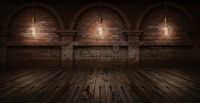 Edison bulbs on wall brick background royalty free stock photo