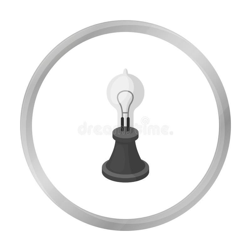 Edison ` s lampowa ikona w monochromu stylu odizolowywającym na białym tle Źródło światła symbolu zapasu wektoru ilustracja ilustracji