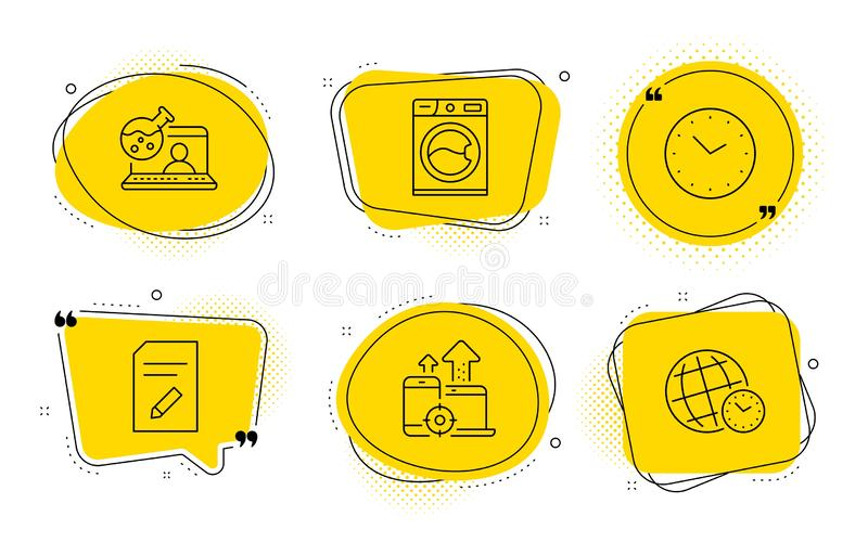 Edit document, Online chemistry and Time icons set. Washing machine, Seo devices and Time zone signs. Vector. Washing machine, Seo devices and Time zone signs vector illustration