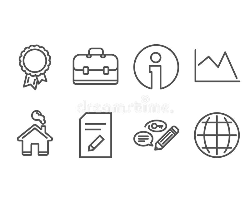 Edit document, Portfolio and Success icons. Line chart, Keywords and Globe signs. royalty free illustration