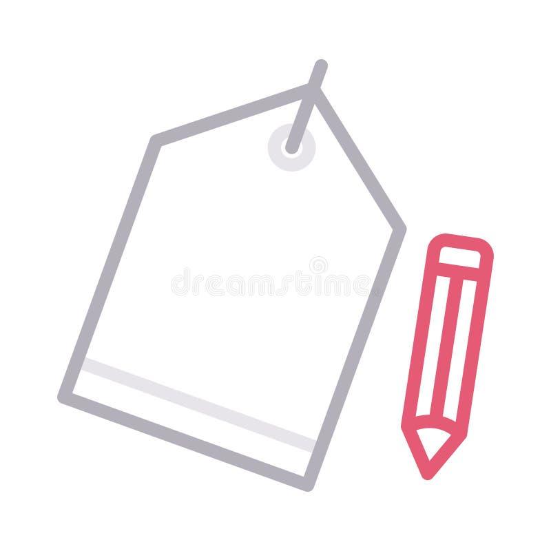 Edit label thin color line vector icon stock illustration