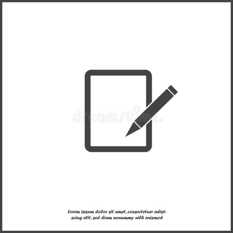 Edit vector icon on white isolated background. Document pencil edit. Layers grouped for easy editing illustration. royalty free illustration