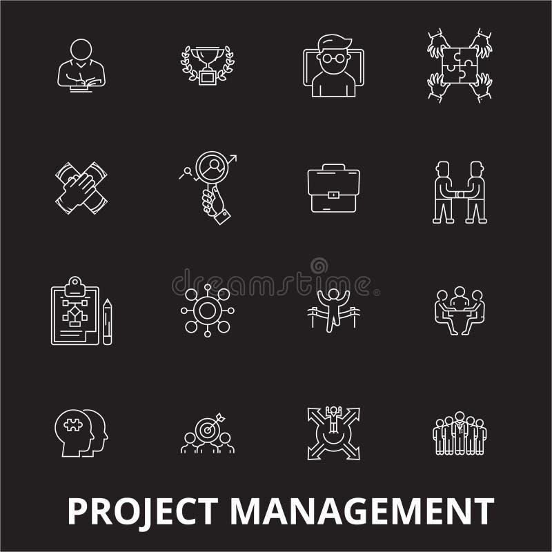 Editable διάνυσμα εικονιδίων γραμμών διαχείρισης του προγράμματος που τίθεται στο μαύρο υπόβαθρο Άσπρες απεικονίσεις περιλήψεων δ διανυσματική απεικόνιση