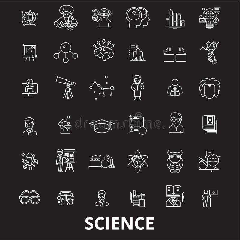 Editable διάνυσμα εικονιδίων γραμμών επιστήμης που τίθεται στο μαύρο υπόβαθρο Άσπρες απεικονίσεις περιλήψεων επιστήμης, σημάδια,  διανυσματική απεικόνιση